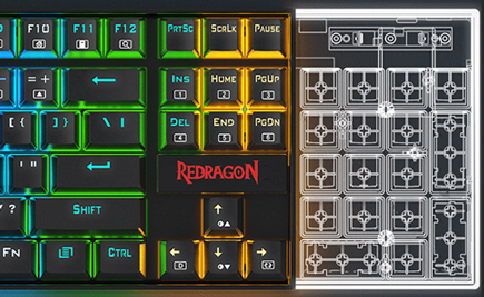 Close up of Redragon K552 Mechanical Gaming Keyboard with design diagram