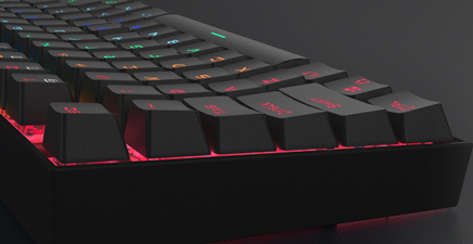 Close up of Redragon K552 Mechanical Gaming Keyboard right edge