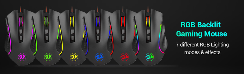 RGB backlit gaming mouse 7 different RGB lighting modes and effects