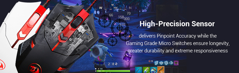 High precision sensor delivers pinpoint accuracy while gaming grade micro switches ensure longevity, durability, responsiviness.