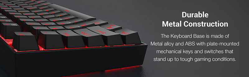 Durable Metal Construction. Base is made of metal alloy and ABS with plate-mounted keys that stand up to tough gaming.