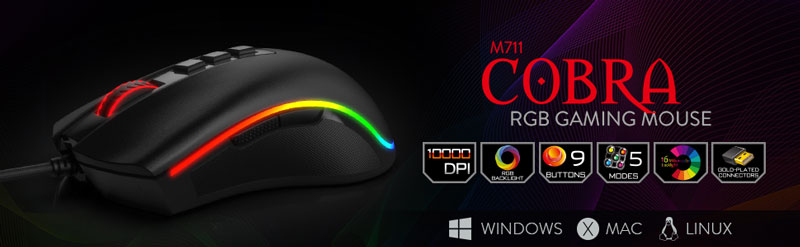 M711 Cobra RGB Gaming Mouse. Windows. Mac. Linux.