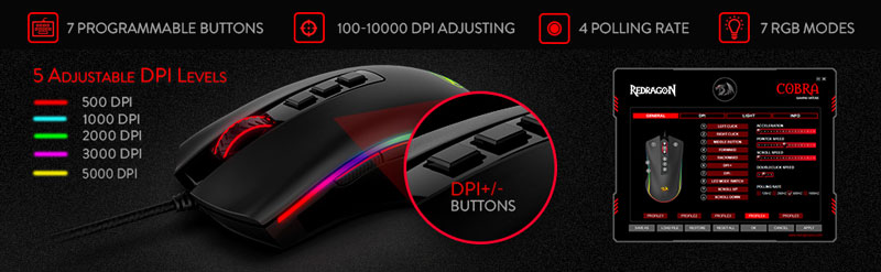 7 Programmable Buttons. 5 Adjustable DPI Levels