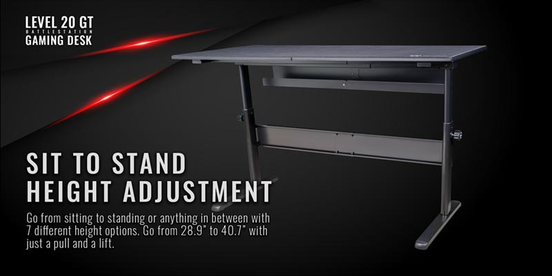 Thermaltake Gaming table Site to stand height adjustment