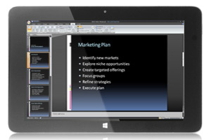 WinBook tablet showing Microsoft Office 365