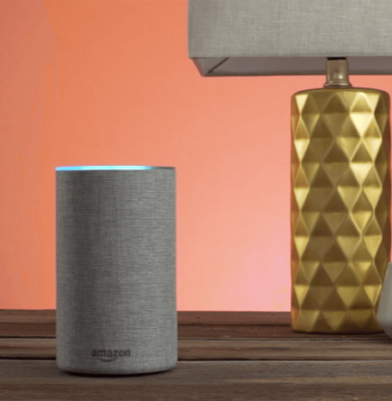 Image of Amazon speaker and a lamp