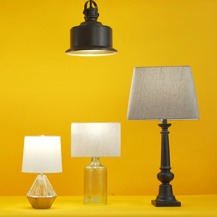 Image of hanging lamp and three desktop lamps