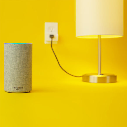 Image of a lamp and Alexa device