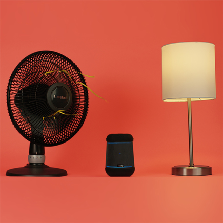 Image of a fan, smart assistant, lamp