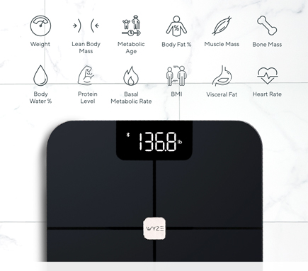 Wyze Smart Scale with icons showing it tracks 12 essential body metrics including, weight, kean body mass, metabolic age, body fat, body water, heart rate, and more