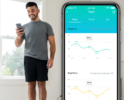 Guy reviewing his Wyze Smart Scale assessment on the Wyze phone app