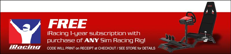 FREE iRacing 1 year subscrition with purchase of ANY sim racing rig!