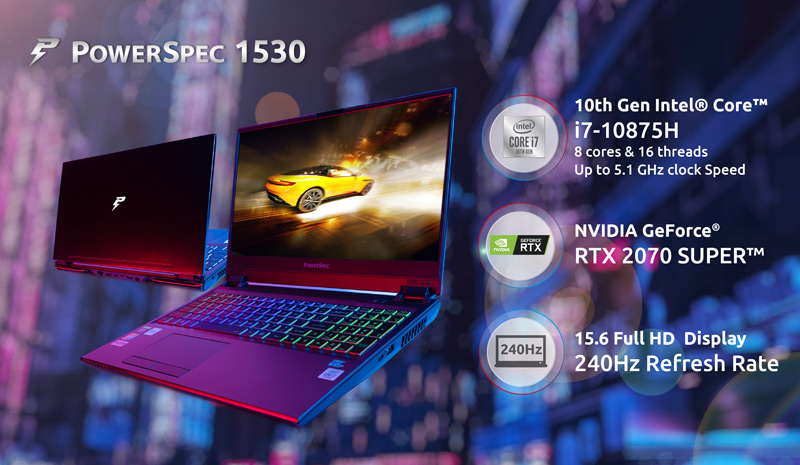 PowerSpec 1530 10th Gen Intel Core i7 10875H, NVIDIA GeForce RTX 2070 Super, 15.6 inch full HD display.