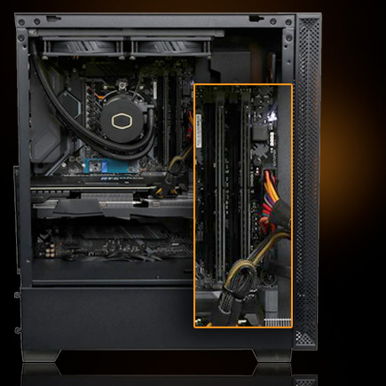 Closeup of the G900 case inside showing 16GB DDR4-3200 RAM