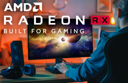 Gamer image with RMA Radeon RX Built For Gaming overlay