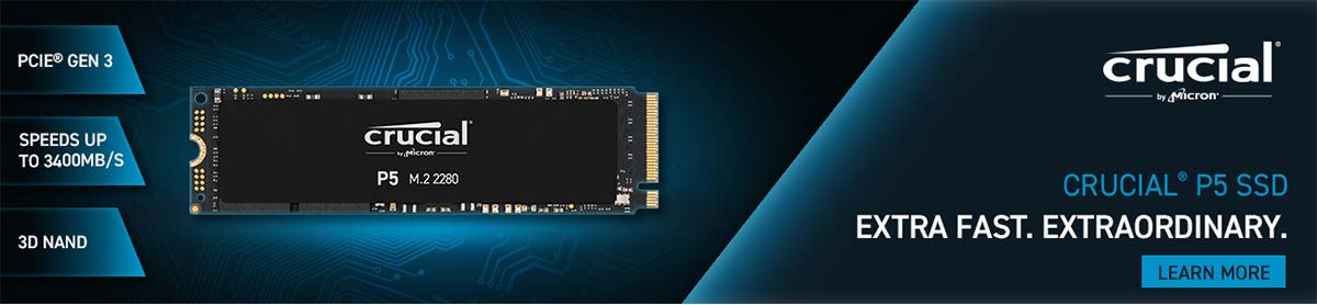 Crucial P5 SSD - Extra Fast. Extraordinary. PCIe Gen 3; speeds up to 3400MB/S; 3D NAND - LEARN MORE