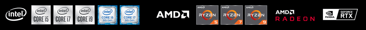 Logo band featuring Intel, AMD and NVIDIA GTX