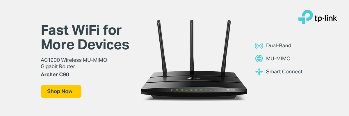 Fast Wi0Fi for More Devices. TP-Link AC1900 Wireless MU-MIMO Gigabit Router Archer C90 - Dual-band; Smart Connect. Shop Now